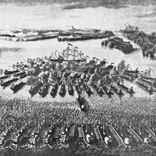 Гравюра Гангутского морского сражения